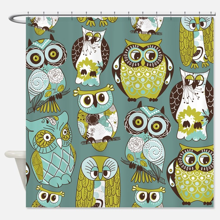 Hoot Owl Shower Curtains Hoot Owl Fabric Shower Curtain
