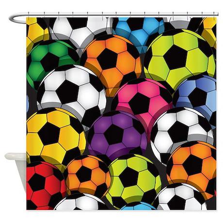 Elegant Colorful Soccer Balls Shower Curtain