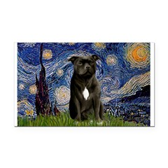 Starry-Am.Staffordshire (blk) Rectangle Car Magnet