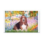 Basset in the Garden Rectangle Car Magnet