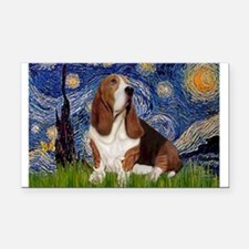 Starry Night & Basset Rectangle Car Magnet