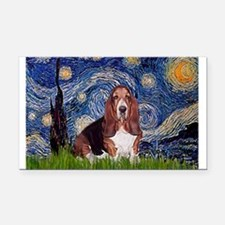 Starry / Basset Hound Rectangle Car Magnet