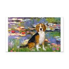 Lilies (#2) - Beagle #7 Rectangle Car Magnet