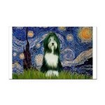 Starry Night /Bearded Collie Rectangle Car Magnet