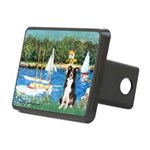 Sailboats & Border Collie Rectangular Hitch Cover