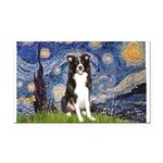 Starry Night Border Collie Rectangle Car Magnet