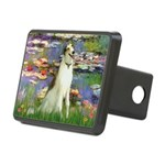 Borzoi in Monet's Lilies Rectangular Hitch Cover