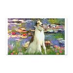 Borzoi in Monet's Lilies Rectangle Car Magnet