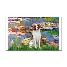 Lilies 2/Brittany Spaniel Rectangle Car Magnet