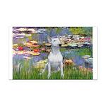 Lilies2-Bull Terrier (P) Rectangle Car Magnet