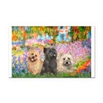 Garden/3 Cairn Terriers Rectangle Car Magnet