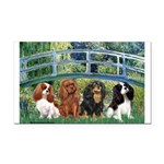 Bridge & 4 Cavaliers Rectangle Car Magnet