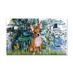 Lilies & Chihuahua Rectangle Car Magnet