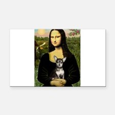 Mona Lisa / Chihuahua Rectangle Car Magnet
