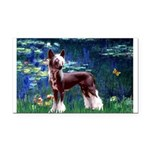 Lilies / Chinese Crested Rectangle Car Magnet