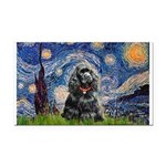 Starry Night / Black Cocke Rectangle Car Magnet