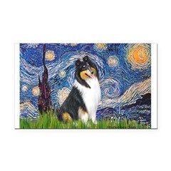 Starry Night / Collie (tri) Rectangle Car Magnet