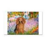 Garden -Dachshund (LH-Sable) Rectangle Car Magnet