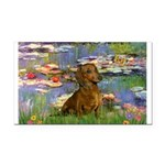 Lilies & Dachshund Rectangle Car Magnet