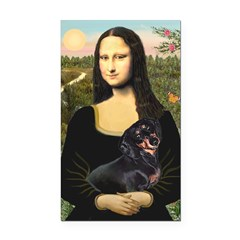 Mona Lisa/Dachshund (BT4) Rectangle Car Magnet