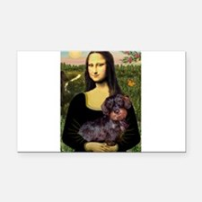 Mona / Dachshund (wire) Rectangle Car Magnet