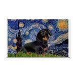 Starry Night Dachshund Rectangle Car Magnet