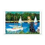 Sailboats / Flat Coated Retri Rectangle Car Magnet
