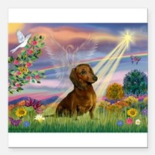 Cloud Angel /Dachshund (brn s Square Car Magnet 3&