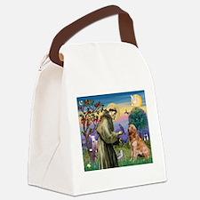 St Francis / Golden Retriever Canvas Lunch Bag