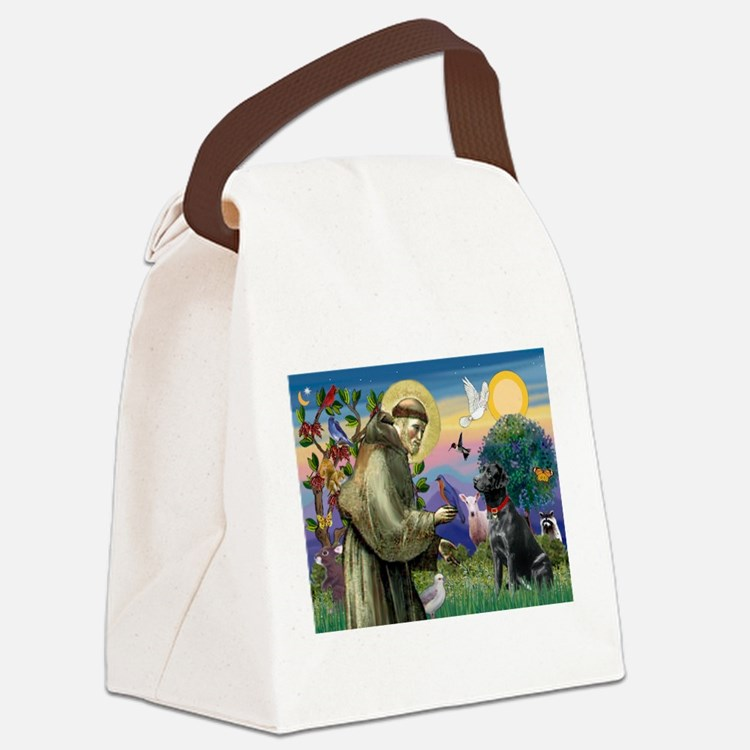 St Francis / Lab (black) Canvas Lunch Bag