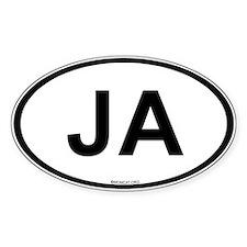 Int'l Country Code Oval Sticker: Jamaica (JA)