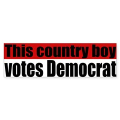 Country Boy Democrat Bumper Bumper Sticker
