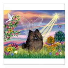 Cloud Angel /Pomeranian (brin Square Car Magnet 3&
