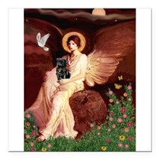 """Seated Angel / Pug (blk) Square Car Magnet 3"""""""