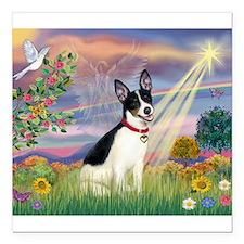 Cloud Angel / Rat Terrier Square Car Magnet 3&quot