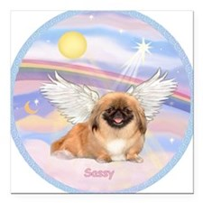 "Pekingese Sassy Angel Square Car Magnet 3"" x"