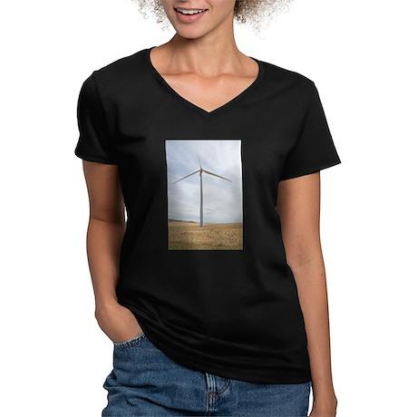 Wind Turbine Women's V-Neck Dark T-Shirt