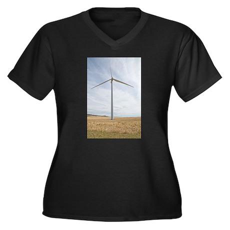 Wind Turbine Women's Plus Size V-Neck Dark T-Shirt