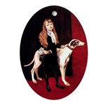 GREYHOUND & GIRL Oval Ornament