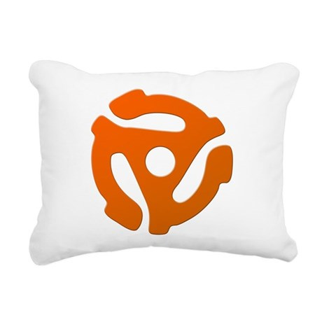 Orange 45 RPM Adapter Rectangular Canvas Pillow