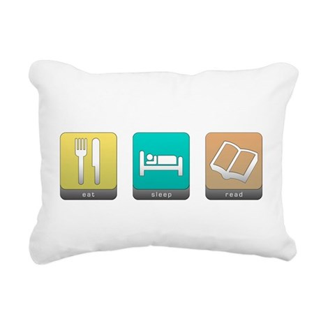 Eat, Sleep, Read Rectangular Canvas Pillow