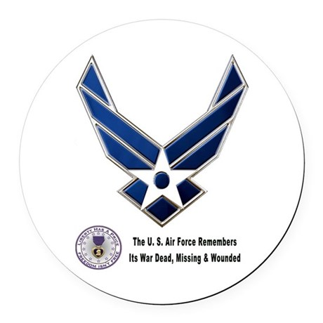 USAF Remembers Round Car Magnet