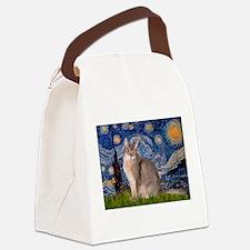 Starry / Blue Abbysinian cat Canvas Lunch Bag