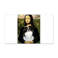 Mona Lisa/Japanese Chin Rectangle Car Magnet