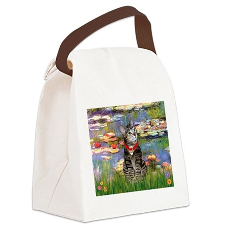 MP-Lilies2-ATabby2.png Canvas Lunch Bag