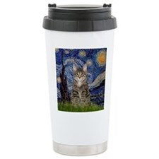 Starry Night & Tiger Cat Travel Mug