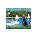 Sailboats & Black Lab Square Sticker 3