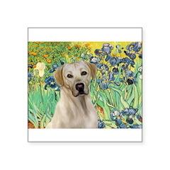 Irises - Yellow Labrador Square Sticker 3