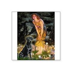 Fairies & Black Lab Square Sticker 3