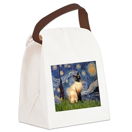 TILE-Starry-Siamese1.png Canvas Lunch Bag